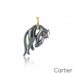 Cartier Yellow Gold and Silverium Hanging Panthere Pendant
